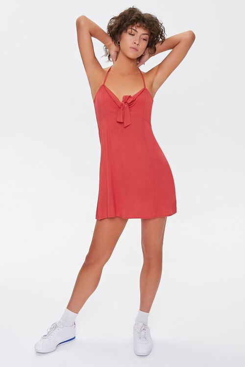 Knotted Bow-Front Cami Mini Dress, image 4