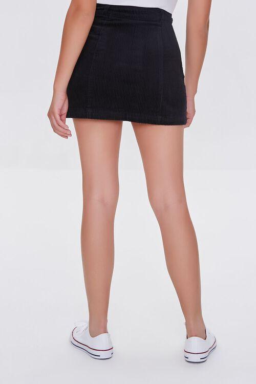 BLACK Corduroy Button-Front Mini Skirt, image 4