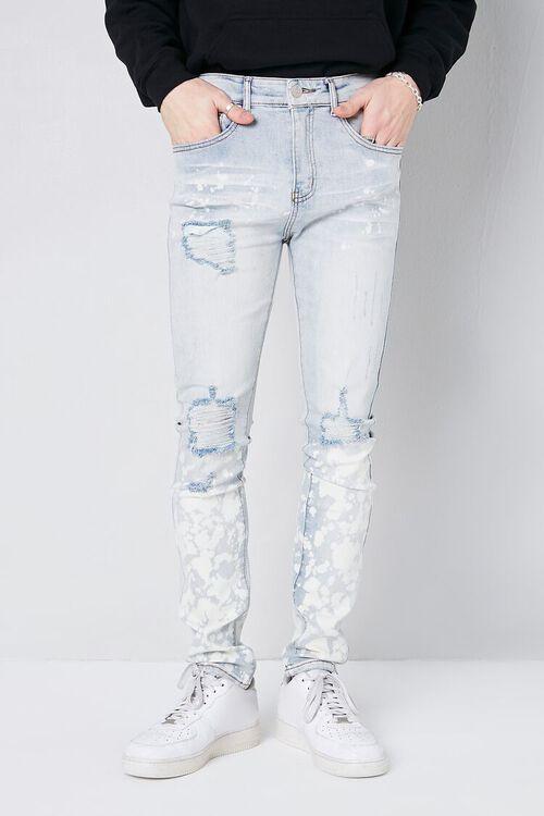 LIGHT DENIM Bleach Wash Distressed Jeans, image 2