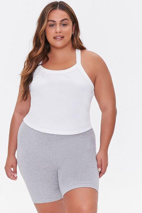 HEATHER GREY Plus Size Basic Organically Grown Cotton Biker Shorts, image 6