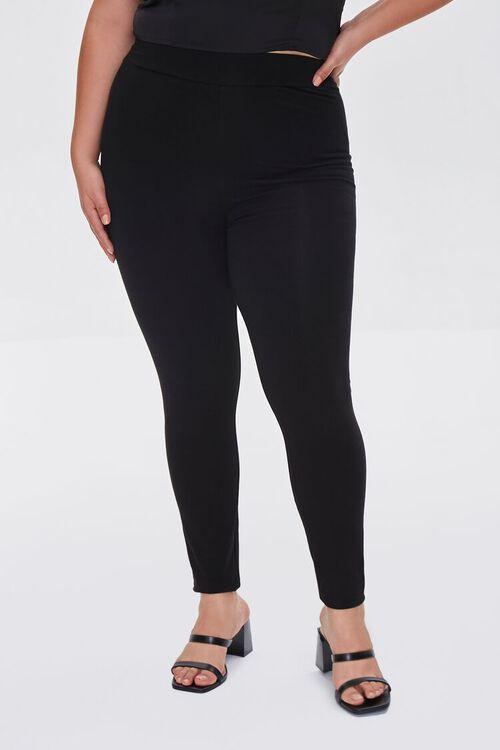 BLACK Plus Size Basic Organically Grown Cotton Leggings, image 2