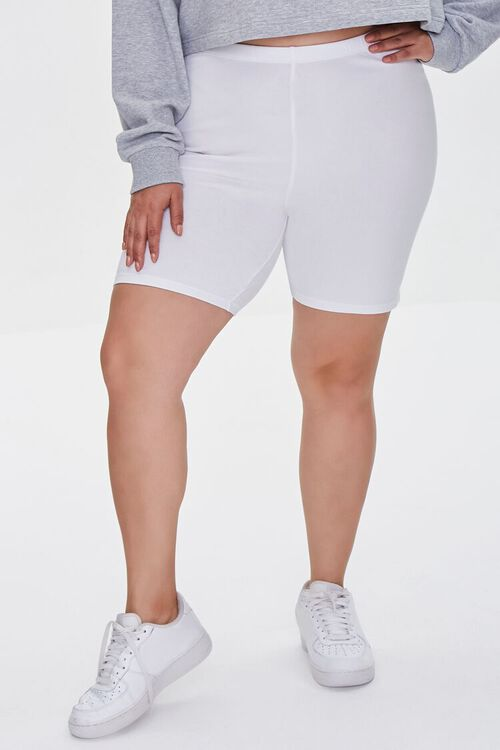 WHITE Plus Size Organically Grown Cotton Basic Biker Shorts, image 2