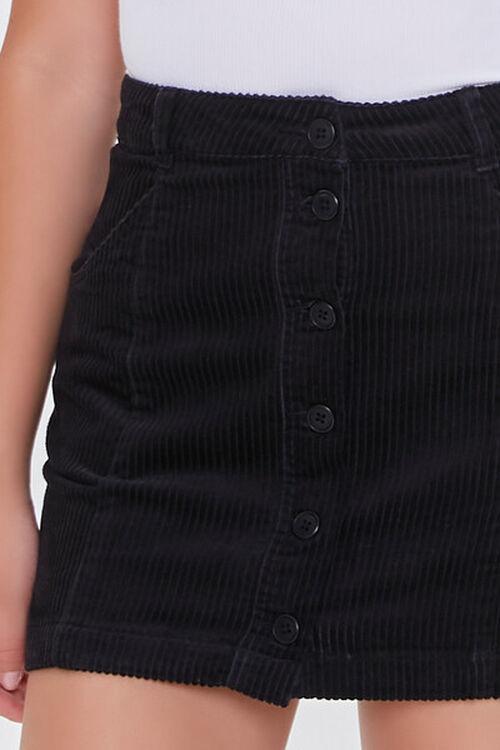 BLACK Corduroy Button-Front Mini Skirt, image 5