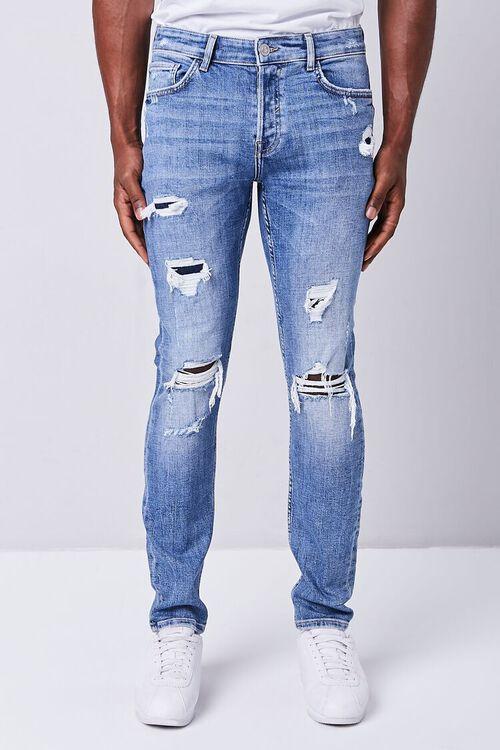MEDIUM DENIM Distressed Slim-Fit Jeans, image 2