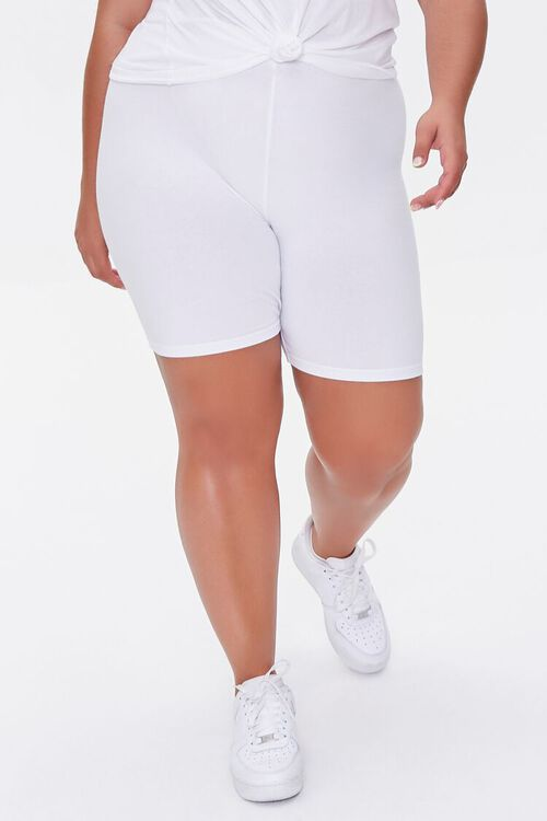 WHITE Plus Size Basic Organically Grown Cotton Biker Shorts, image 2