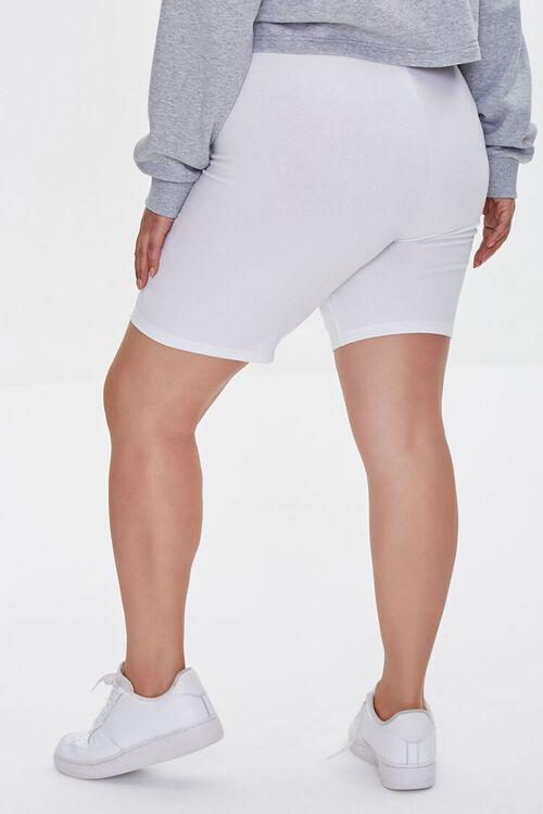 WHITE Plus Size Organically Grown Cotton Basic Biker Shorts, image 4