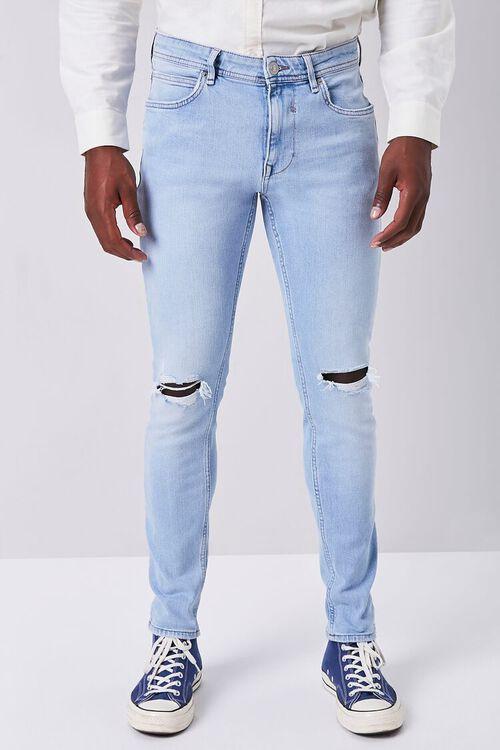 LIGHT DENIM Premium Distressed Slim-Fit Jeans, image 2