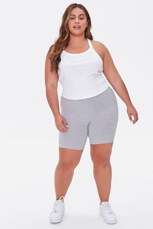 HEATHER GREY Plus Size Basic Organically Grown Cotton Biker Shorts, image 5