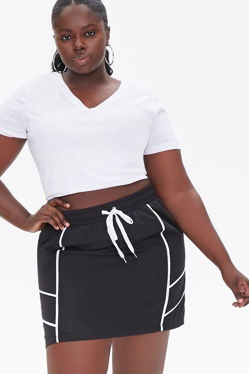 Plus Size Drawstring Mini Skirt, image 1