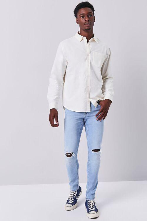 LIGHT DENIM Premium Distressed Slim-Fit Jeans, image 1