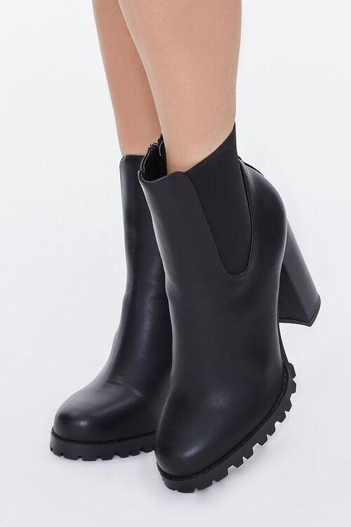 Faux Leather Block Heel Chelsea Booties, image 1