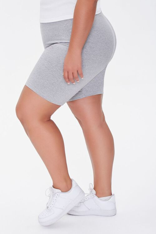 HEATHER GREY Plus Size Basic Organically Grown Cotton Biker Shorts, image 3