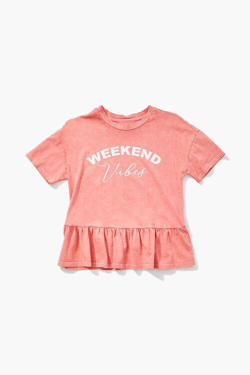 CORAL/MULTI Girls Weekend Vibes Graphic Tee (Kids), image 1