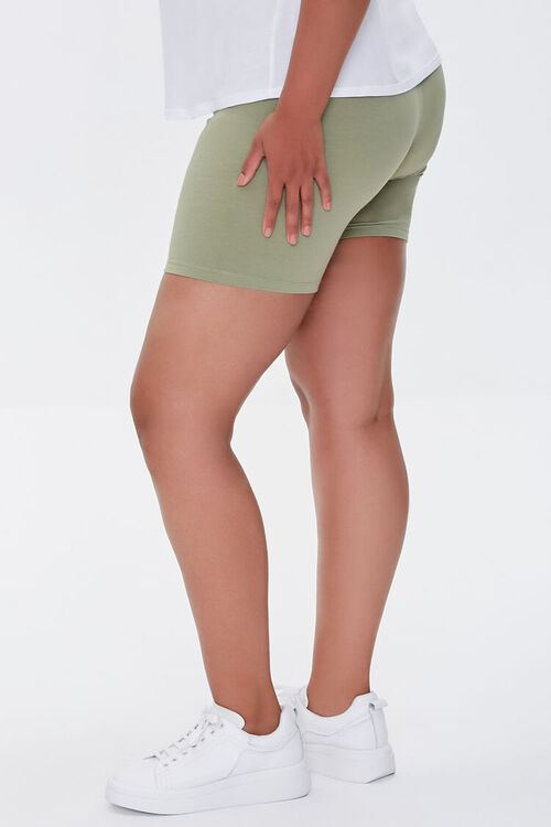 OLIVE Plus Size Basic Organically Grown Cotton Biker Shorts, image 3