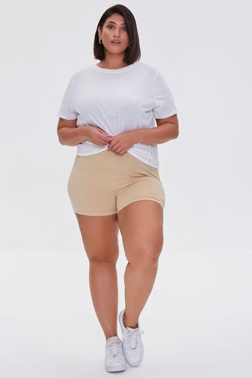 BEIGE Plus Size Basic Organically Grown Cotton Hot Shorts, image 5