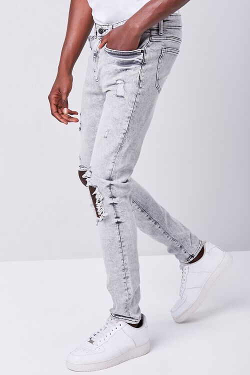GREY Bleached Distressed Skinny Jeans, image 3