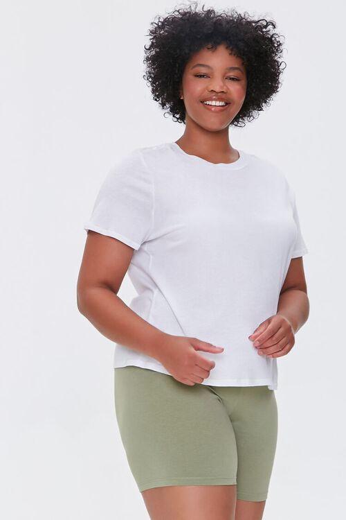 OLIVE Plus Size Basic Organically Grown Cotton Biker Shorts, image 1