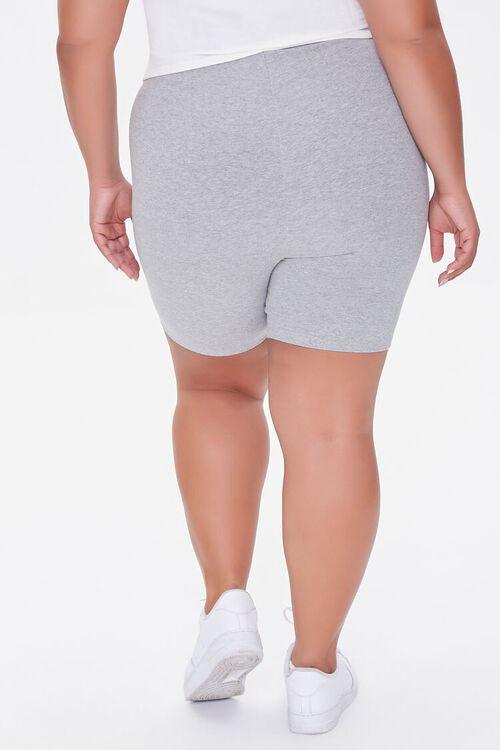 HEATHER GREY Plus Size Basic Organically Grown Cotton Biker Shorts, image 4