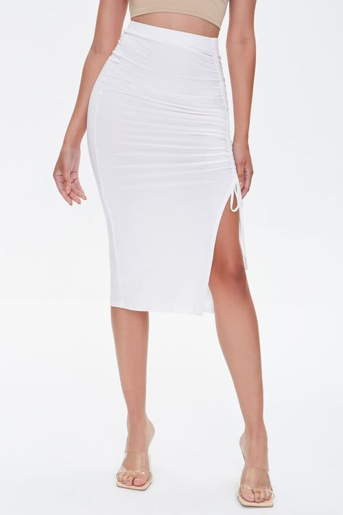 Ruched Drawstring Bodycon Midi Skirt, image 2