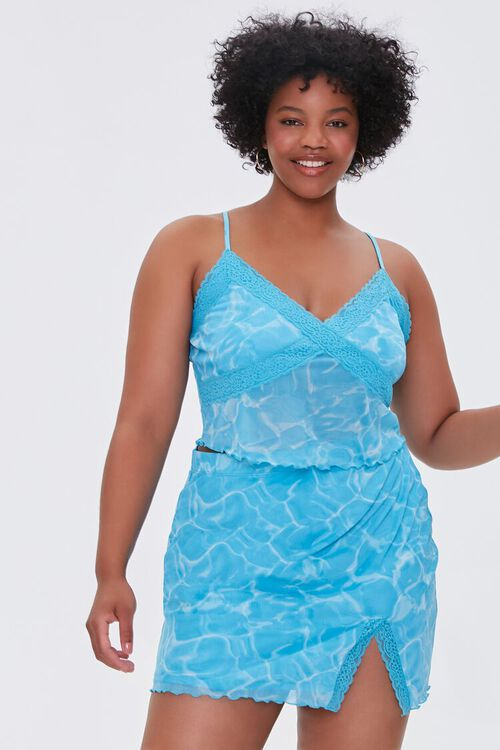 Plus Size Water Print Mini Skirt, image 6