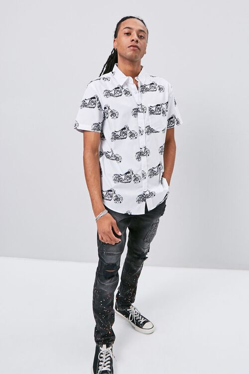 WHITE/MULTI Motorcycle Print Fitted Shirt, image 4