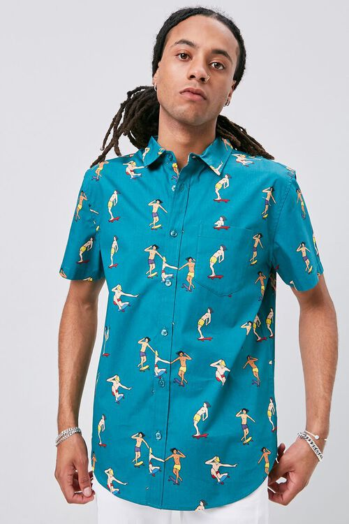 TEAL/MULTI Skateboard Print Fitted Shirt, image 1