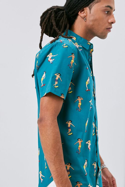 TEAL/MULTI Skateboard Print Fitted Shirt, image 2