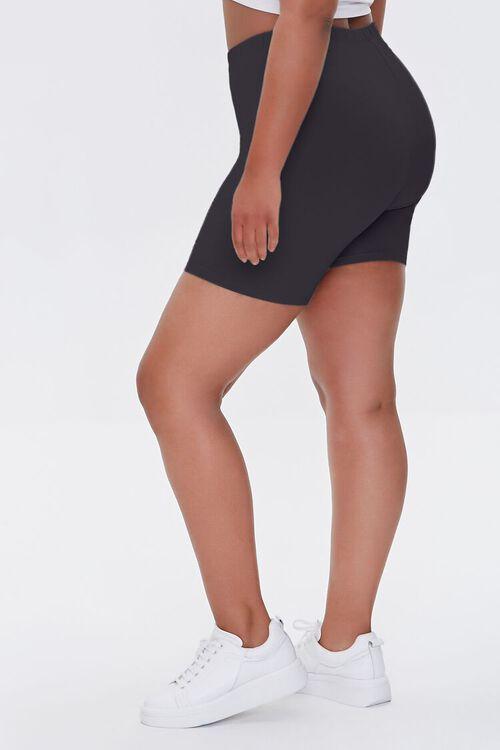 BLACK Plus Size Basic Organically Grown Cotton Biker Shorts, image 3