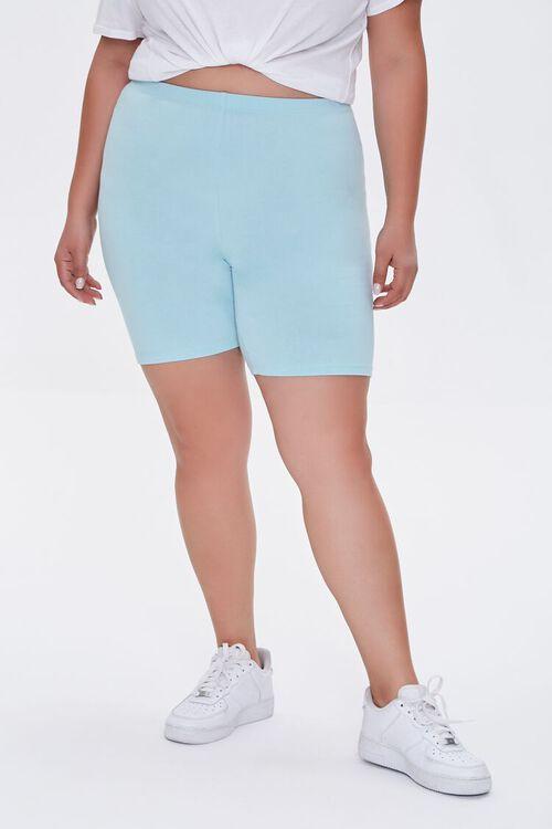 AQUA Plus Size Organically Grown Cotton Biker Shorts, image 2