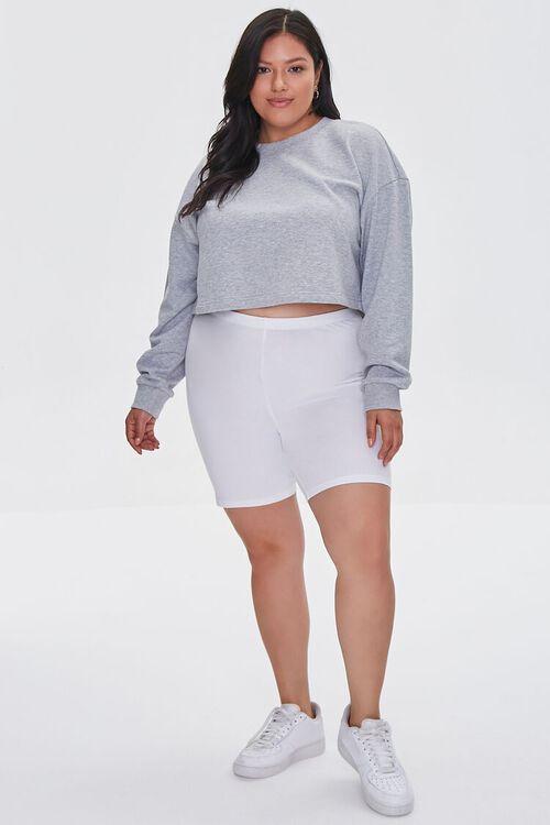 WHITE Plus Size Organically Grown Cotton Basic Biker Shorts, image 5