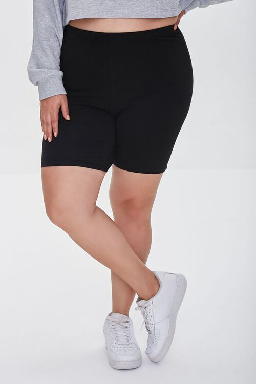 BLACK Plus Size Organically Grown Cotton Basic Biker Shorts, image 2