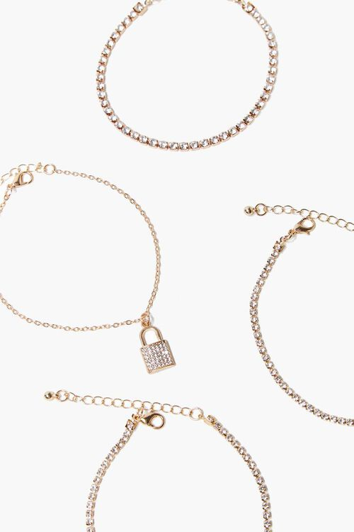 Lock Pendant Rhinestone Bracelet Set, image 2