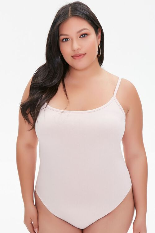 DUSTY PINK Plus Size Basic Organically Grown Cotton Bodysuit, image 5