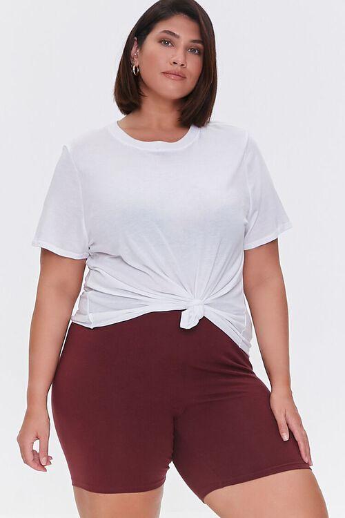 WINE Plus Size Organically Grown Cotton Biker Shorts, image 1