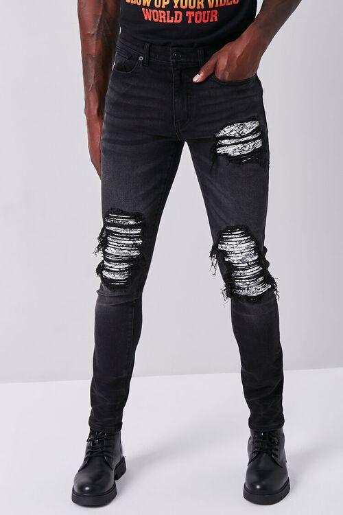 BLACK/WHITE Distressed Skinny Jeans, image 2