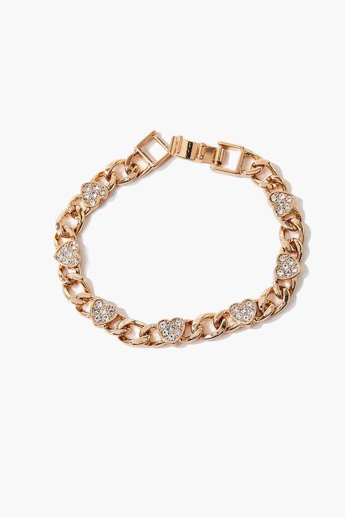 Rhinestone Heart Charm Bracelet, image 3