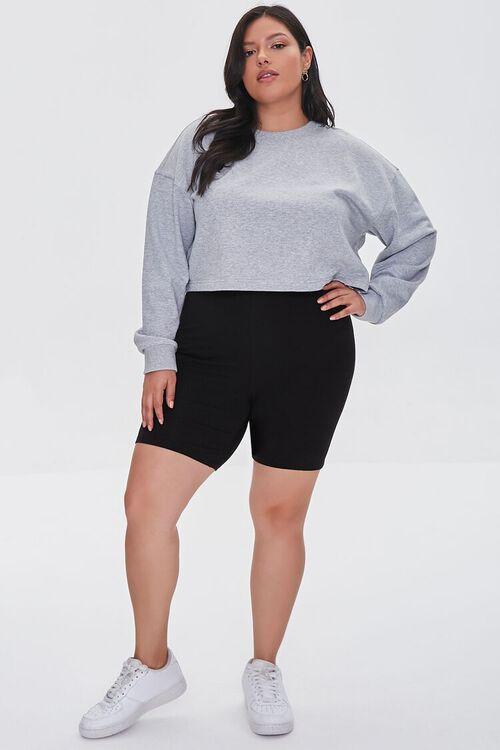 BLACK Plus Size Organically Grown Cotton Basic Biker Shorts, image 5