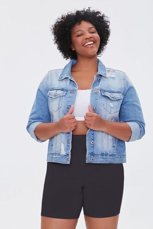 BLACK Plus Size Basic Organically Grown Cotton Biker Shorts, image 1