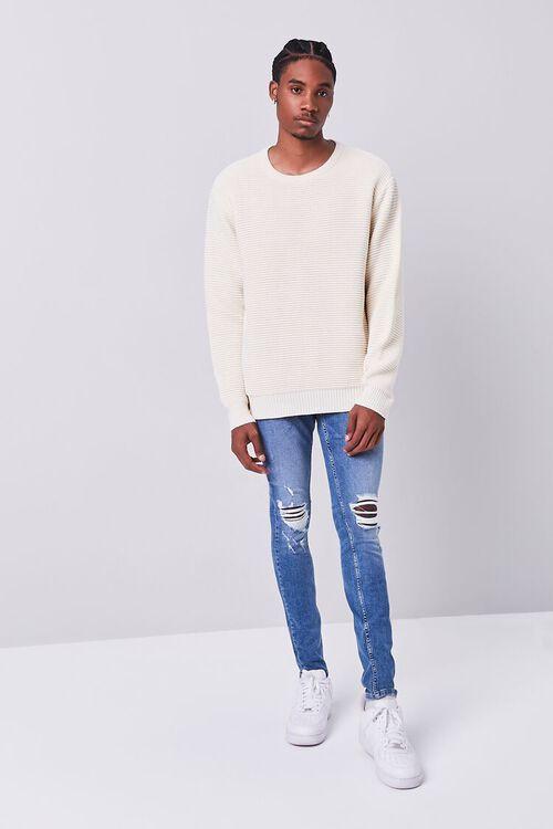 MEDIUM DENIM Premium Distressed Skinny Jeans, image 1