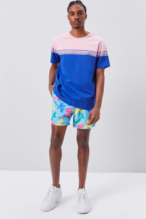 PINK/BLUE Striped Colorblock Tee, image 4