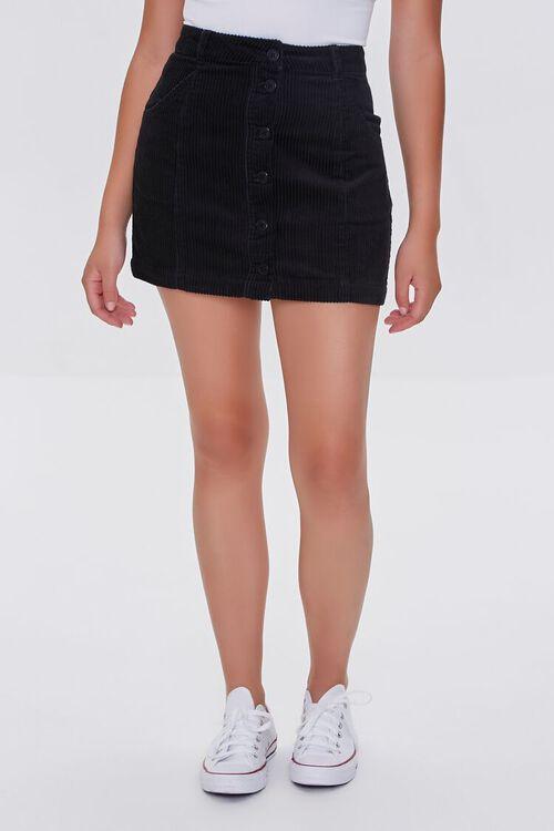 BLACK Corduroy Button-Front Mini Skirt, image 2