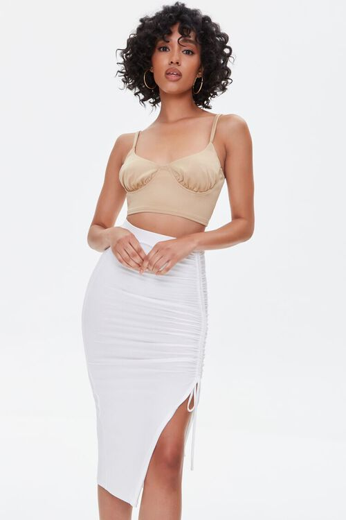 Ruched Drawstring Bodycon Midi Skirt, image 1