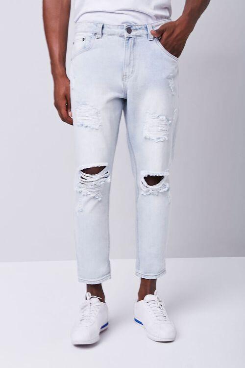 LIGHT DENIM Distressed Straight-Leg Ankle Jeans, image 2