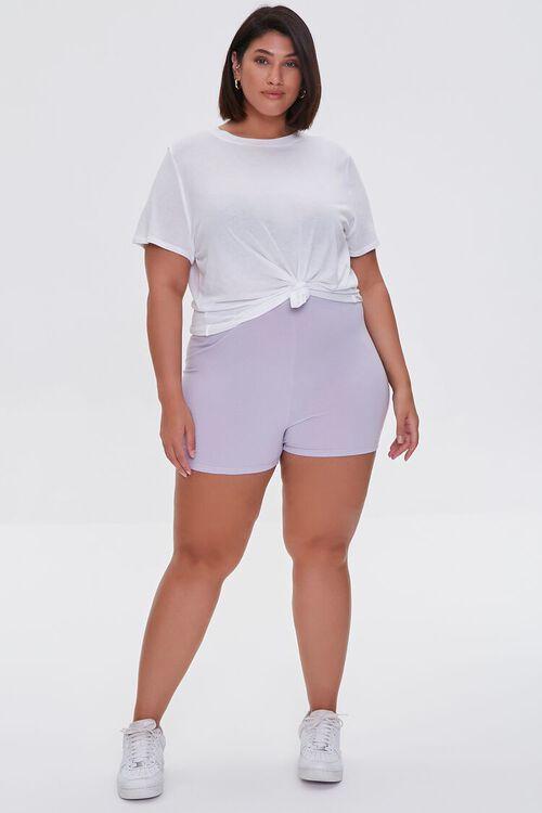 DUSTY LAVENDER Plus Size Basic Organically Grown Cotton Hot Shorts, image 5