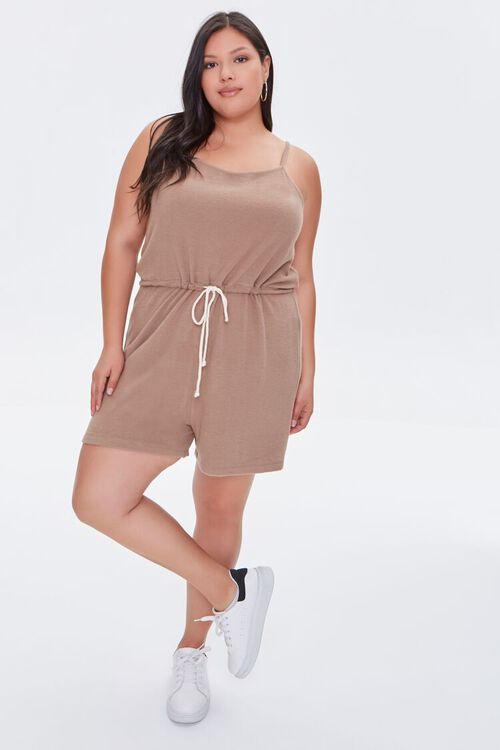 Plus Size Cami Drawstring Romper, image 4
