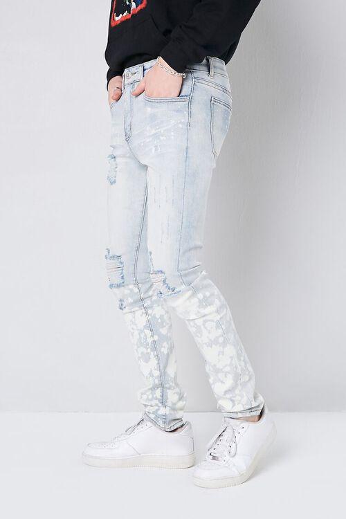LIGHT DENIM Bleach Wash Distressed Jeans, image 3