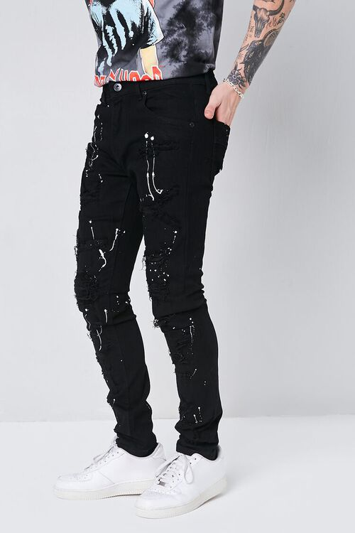 BLACK Paint Splatter Distressed Jeans, image 3