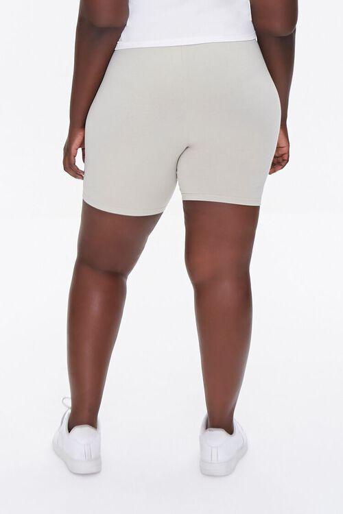 NEUTRAL GREY Plus Size Basic Organically Grown Cotton Biker Shorts, image 4