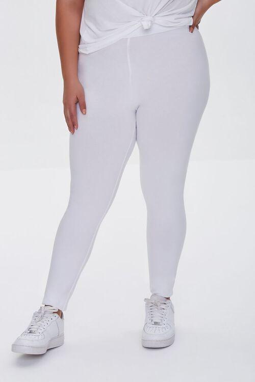WHITE Plus Size Basic Organically Grown Cotton Leggings, image 2