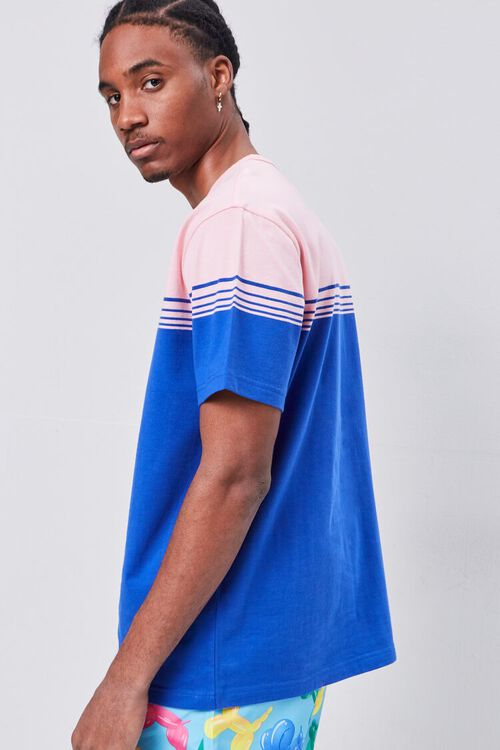 PINK/BLUE Striped Colorblock Tee, image 2
